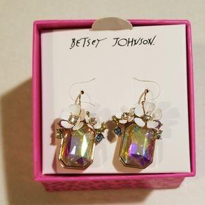 Betsey johnson crystal/ flower earrings